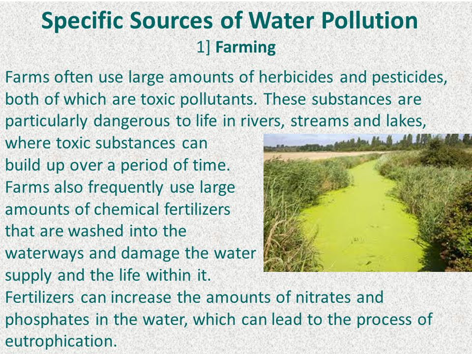 Specific Sources of Water Pollution 1] Farming